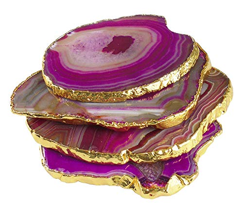 Sharvgun Agate Stone Coaster with Gold Plating, Cup Mat Mixed Color 3-4 Inches, Natural Beautiful Stone Crystal Gemstone Agate Beverage Coasters for Drinks Gift Set of 4. Made By Indian Craftsman