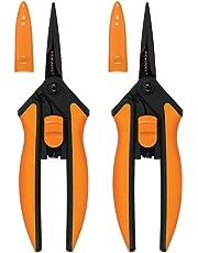 Fiskars Garden 399241-1002 Non-Stick Micro-Tip Pruning Snips, 2 Pack, Blades Orange
