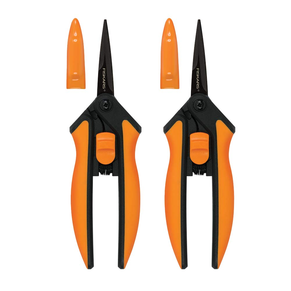 Fiskars 399241-1002 Non-Stick Micro-Tip Pruning Snips, 2 Pack, Blades, Orange
