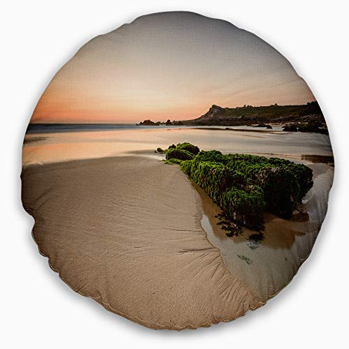Designart CU9396-16-16-C Beach at Sunset in Spain' Seashore Photography Throw Cushion Pillow Cover for Living Room, Sofa, 16'' Round by Designart