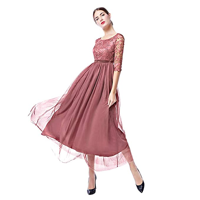 Womens Retro Floral Lace V Neck Bridesmaid Party Dress 1/2 ...