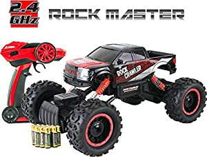 Large Rock Crawler RC Car (12 Inches Long) - 4x4 Remote Control Car For Kids (Red) - Everything Included (Even Batteries) - 1/14 Rock Master Rock Crawler with 2.4Ghz Controller By ThinkGizmos