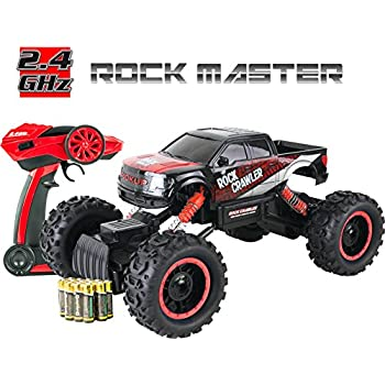 large rock crawler rc car 12 inches long 4x4 remote control car for kids red everything included even batteries 114 rock master rock crawler