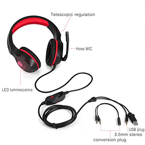 PC Gaming Headset with Mic, VPRAWLS 3.5mm Wired Over-Ear Bass Surround Stereo Headphone with Noise Cancelling, Leather Earmuff, Volume Control for PS4 New Xbox One Mac Laptop Computer Games by VPRAWLS (Image #8)