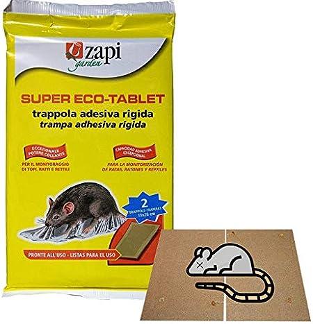 TRAPPOLA BIOLOGICA CASETTA ADESIVA TAVOLA COLLA ESCA TOPI INSETTI RATTI 2pz 11x7