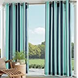 Ln 1 Piece Blue Nautical Gazebo Curtain Panel 95 Inch, Navy Cabana Stripe Outdoor Curtain Light Blocking for Patio Porch, Fade Resistant Indoor/Outdoor Drape Pergola Garden Sunroom Grommet, Polyester