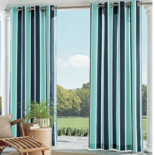 Ln 1 Piece Blue Nautical Gazebo Curtain Panel 95 Inch, Navy Cabana Stripe Outdoor Curtain Light Blocking for Patio Porch, Fade Resistant Indoor/Outdoor Drape Pergola Garden Sunroom Grommet, Polyester by Ln
