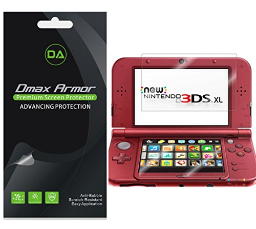 Dmax Armor [3-Pack] for Nintendo 3DS XL Screen Protector (2015 Version) Anti-Bubble High Definition Clear Shield
