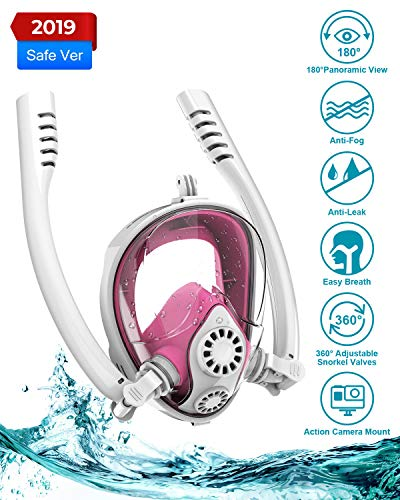 Aven Snorkel Mask Full Face [Double Tubes] Backstroke Swimming Breathing Mask 180° Panoramic View Easy Breath Anti-Fog Anti-Leak with Camera Mount L/XL Withe/Pink ()