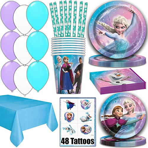Frozen Party Supplies for 16 - Dinner Plates, Cake Plates, Napkins, Cups, Straws, Tablecover, Balloons, Tattoos - Disney Frozen Theme Birthday Pack Disposable tableware, decorations, Favors -