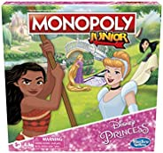 Monopoly Junior: Disney Princess Edition Board Game for Kids Ages 5 and Up, Play as Moana, Rapunzel, Mulan, or