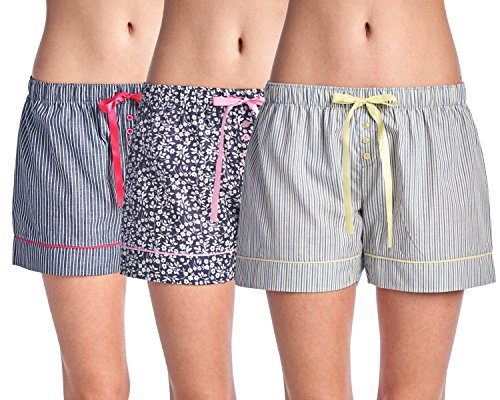 Casual Nights Women's 3 Pack Cotton Woven Lounge Boxer Shorts - Floral/Stripe - Large Cotton Sleep Shorts