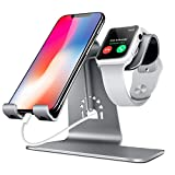 iphone 5 ca se - Bestand 2 in 1 Apple iwatch Charging Stand Holder&Phone Desktop Tablet Dock for Apple Watch/ iPhone X/8Plus/8/7 Plus/ iPad (Space Grey)