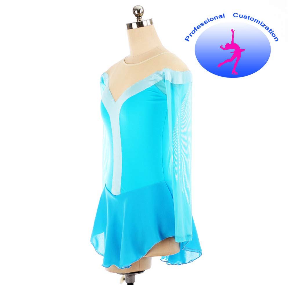 CUIXI Eiskunstlauf-Kleid Für Mädchen Und Frauen Handgemachte Eiskunstlauf-Wettbewerb Light Light Light Blau Mesh Sleeve B07H6G8W55 Bekleidung Tadellos 223b78