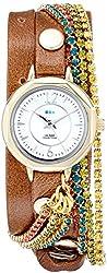 La Mer Collections Women's LMDELCRY1502 Mocha Berlin Crystal Analog Display Quartz Brown Watch