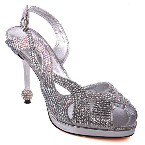 Unze Mujeres Neida ' Diamante sandalias del partido Plateado