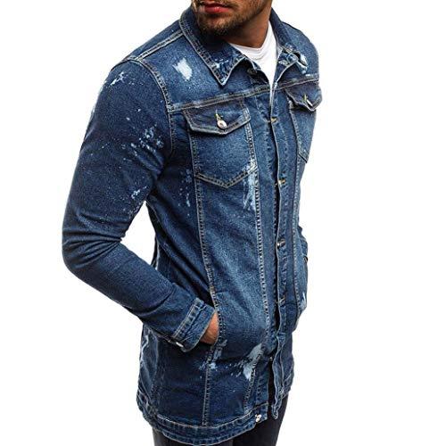Scuro Moda giù Uomo Il Epoca Difficoltà Pulsante Autunno Mens Giacca Caldo In Blu Girano Ronamick Outwear Cappotto Strada Inverno Demin Lunga Manica 17qnC7Ux4