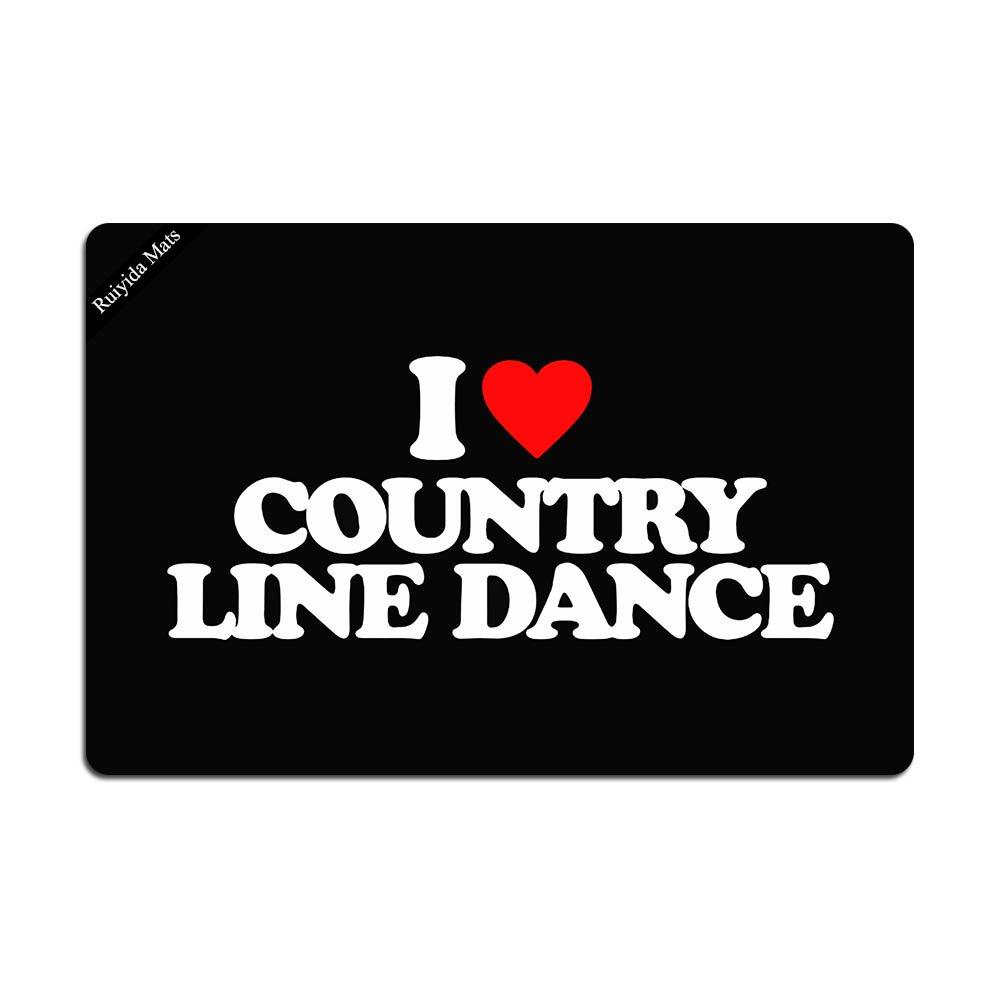Ruiyida I Love Country Line Dance Entrance Floor Mat Funny Doormat Door Mat Decorative Indoor Outdoor Doormat Non-woven 23.6 By 15.7 Inch Machine Washable Fabric Top