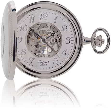 Vintage Pocket Watch with Chain by Rapport - Classic Oxford Half Hunter Pocket Watch with Arabic Numerals Skeleton Dial - Silver