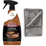 Automotive : Weiman Leather Cleaner and Polish with Microfiber Cloth - Clean and Condition Car Seats, Shoes, Couches and More - 22 Fluid Ounces