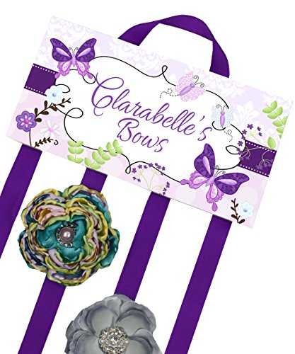 Purple Butterfly Garden Girls Personalized Hair Bow Holder- Bows and Clips Organizer - Girls Personal Hair Bow and Clip Hanger HB00180