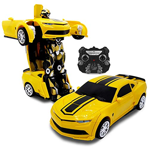 Family Smiles Kids RC Toy Yellow Car Transforming Robot 2.4 GHz Remote Control with One Button Transformation Realistic Engine Sounds Dance Mode 360 Spinning 2 Band RC Vehicle Toy for Boys
