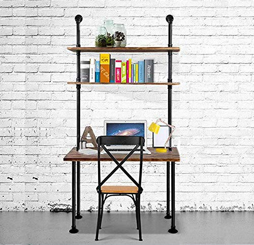 Diwhy Industrial Style Office Decor,Computer Desk with 2-Tier Storage Pipe Shelves,Bookshelf Laptop Desk,Studying Writing Table Workstation with Hutch for Home Ofiice(40 inches)