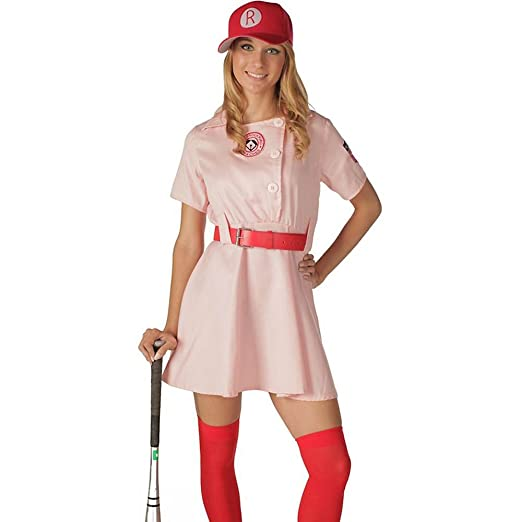 1940s Costumes- WW2, Nurse, Pinup, Rosie the Riveter Rockford Peaches Adult Costume $49.99 AT vintagedancer.com