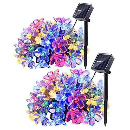 Joomer 2 Pack Solar String Lights, 22ft 50LED Cherry Blossom Fairy String Lights Waterproof for Outdoor Christmas, Patio, Lawn, Garden, Holiday and Festivals Decorations (Multi-Color)