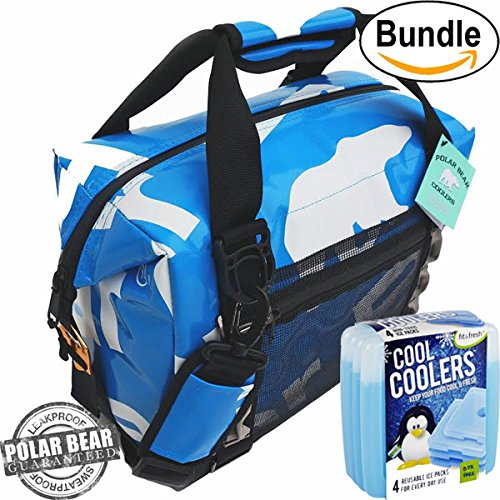 Polar Bear Coolers H2O Waterproof Cooler (Size 12 Pack) Ice Blue & Fit & Fresh Cool Coolers Slim Ice 4-Pack (Bundle) by Polar Bear / Fit & Fresh
