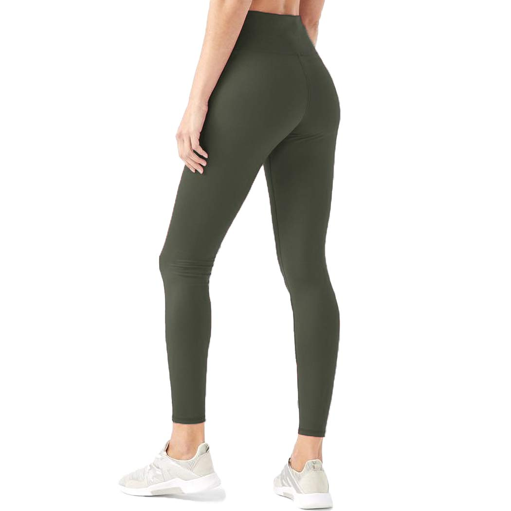 HIGHDAYS Leggings for Women High Waisted Tummy Control Opaque Slim Soft Pants for Cycling, Yoga, Running (Plus Size, Olive) by HIGHDAYS