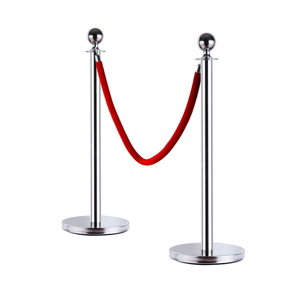 Leadzm 2PCS Stainless Steel Queue Pole Stanchion, Heavy Duty Crowd Control Barrier Security Fence with Ball Top and Retractable 4.9ft Red Flannel Chenille Belt Rope, Silver