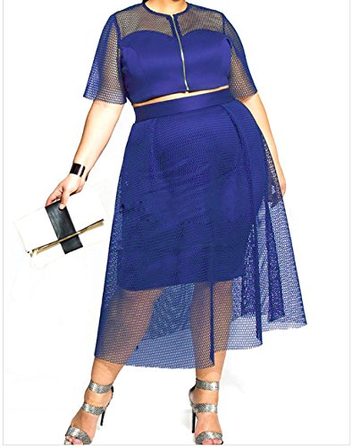 YFFaye Mesh Joint Plus Crop Top Skirt Set Blue