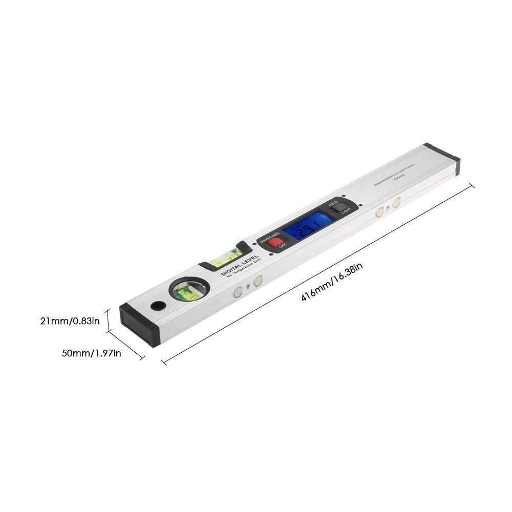 Gocheer Rapporteur Numérique 0 °~360 °,Viseur D\'angle Avec Ecran LCD, Angle De 400mm/416mm Outil De Mesure De Niveau Pour Vertical Horizontal Niveau à Bulle
