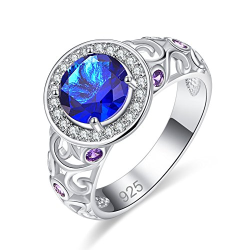 - Veunora 925 Sterling Silver 8x8mm Sapphire Quartz Filled Halo Ring for Women Size 6