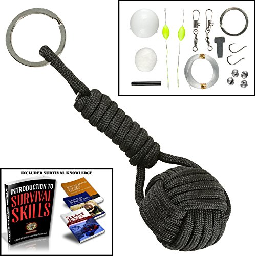 550 Paracord Keychain Survival FIshing Kit Fire Starter Holtzman's (Black)