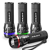 Pack of 4 Small LED Torches, BYBLIGHT Super Bright 150 Lumen 3-Mode Zoomable LED Pocket Flashlight Torch (With Colored Band Lucid Ring)