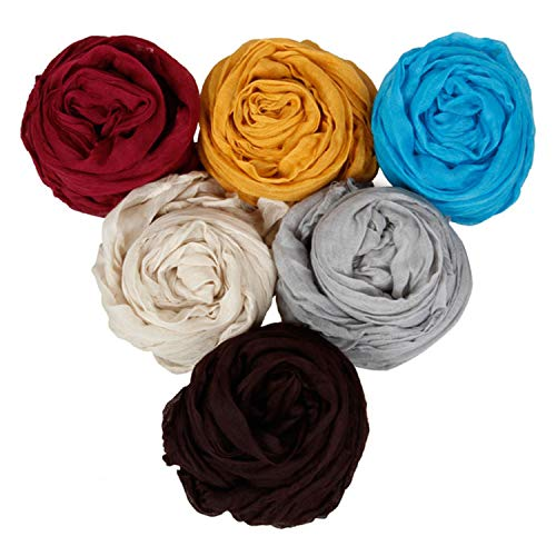 BMC Fancy Crinkle Shawl Scarf Cotton Scarves Mixed Solid Color Lot