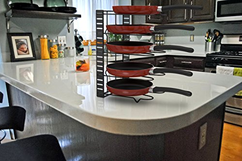 SPRINGROSE Pan & Pot Organizer Rack: Premium Kitchen Organizer with 5 Adjustable Tiers| Sturdy, Durable & Stylish Pan & Pot Holder for Kitchen Counter Top| Save Space & Have Utensils Neatly Organized by SPRINGROSE