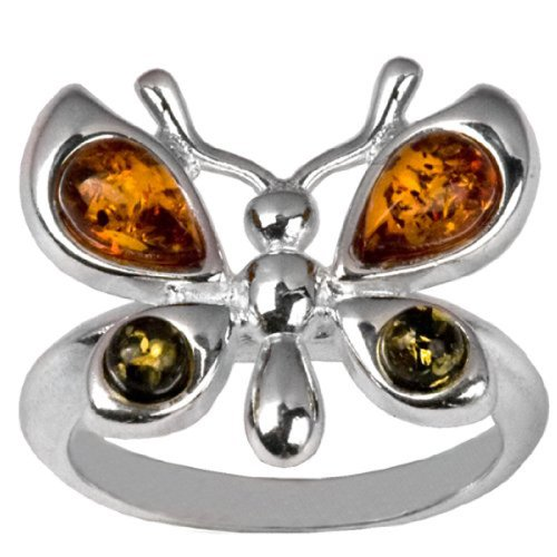 Sterling Silver Multicolor Amber Butterfly -