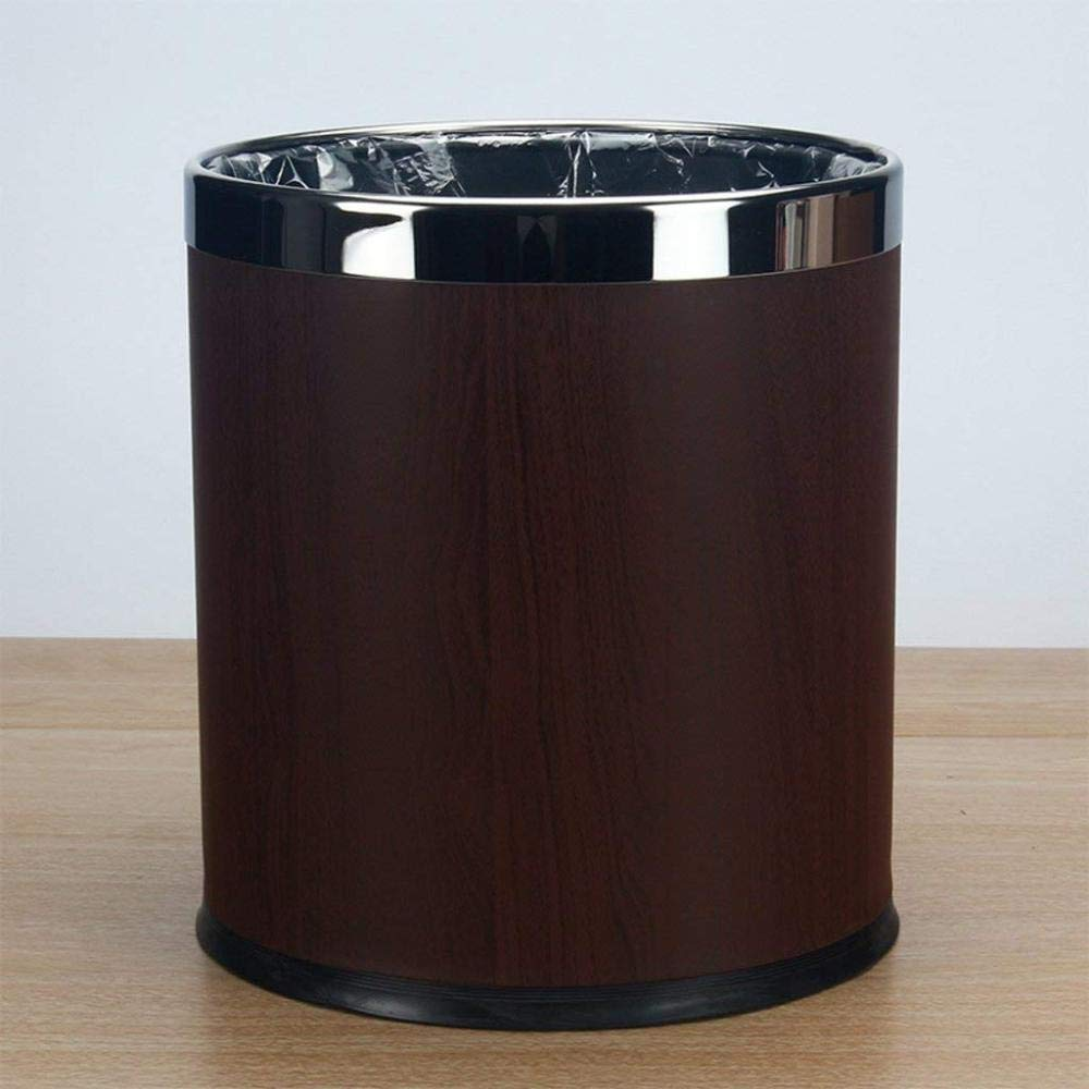 SBBMKJ Trash can Trash can Stainless Steel Indoor Trash can Rural Creative Living Room Trash can Stainless Steel Indoor Trash can,Wood Grain,A