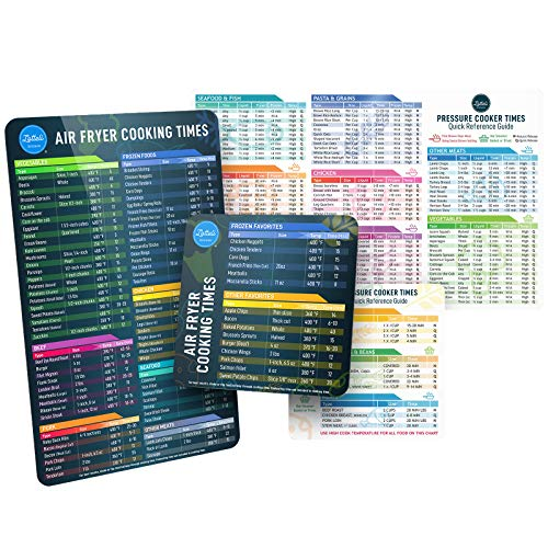 Lotteli Kitchen's Instant Pot Cheat Sheet Magnet & Air Fryer Magnetic Cheat Sheet Bundle Set - Pressure Cooker Air Fryer Accessories Magnet Sheets, Instant Pot Accessories Quick Reference Guide