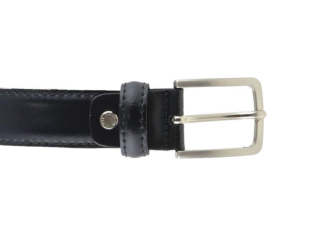 Cintura in pelle di vitello nera 3 cm semi lucida da uomo per cerimonie elegante artigianale made in Italy