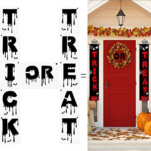 Halloween Font Stencils (11 Pieces Trick or Treat Stencils Plastic Porch Sign Stencils Halloween Stencils for Painting on Wood, 7 x 5)
