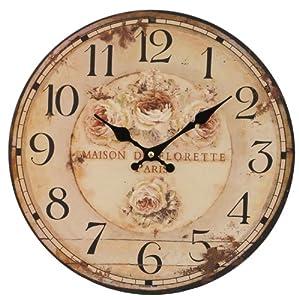 Clayre & Eef 6KL0079 Wanduhr Maison De Florette Paris Ca. Ø 34 Zentimeter