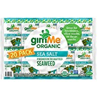 gimMe Organic Roasted Seaweed - Sea Salt - Source of Vitamin C, Iodine, Omega 3's - 20 Count - Keto, Vegan, Gluten Free - Healthy On-The-Go Snack for Kids & Adults