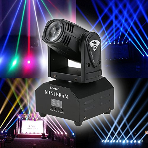 Lixada LED Head Moving Light Rotating Moving Head DMX512 Sound Activated Master-slave Auto Running 11/13 Channels RGBW Color Changing Beam Light for Disco KTV Club Party (Beam Light)