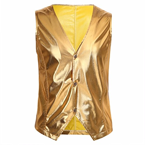 Dance Sports Costume For Men (TiaoBug Mens Patent Leather Sleeveless Vest Top Metallic Clubwear Night Club Suit Vest Gold XL)