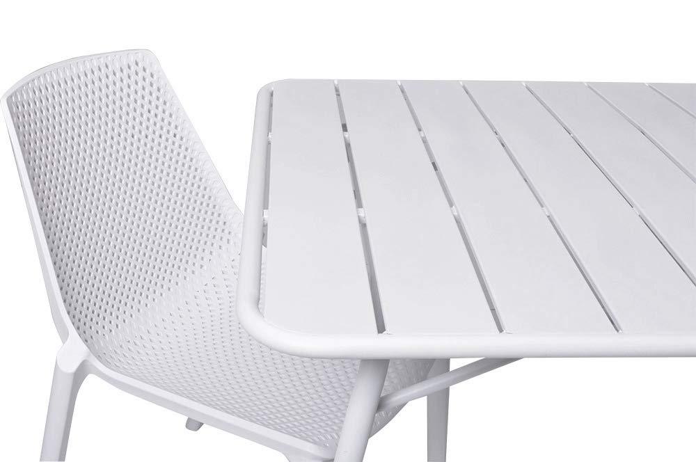 Poltrona Perfetta per Arredo Tavolo Giardino Esterno Interno e Terrazzo Enrico Coveri Garden Sedia Moderna Bianco in Acciaio E ABS