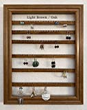Earring Organizer Storage Jewelry Holder Picture Frame Rack Wall Mounted Hanging Display - Available in 10 colors - Light Brown